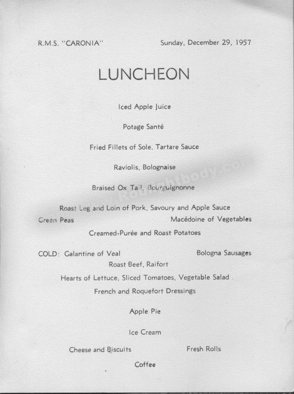 RMS Caronia Menu, Sunday December 29th 1957