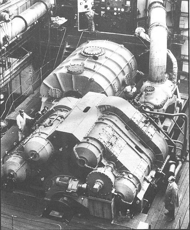 The original steam turbines prior to original installation in 1967.