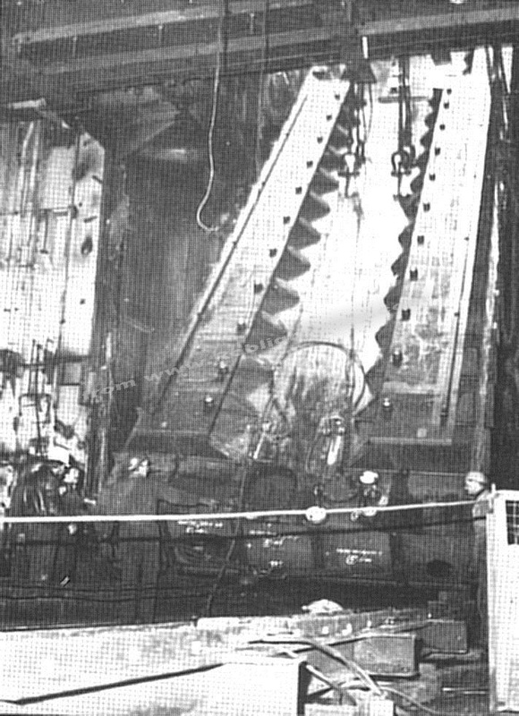 One of the engine bedplates being lowered into the machinery space