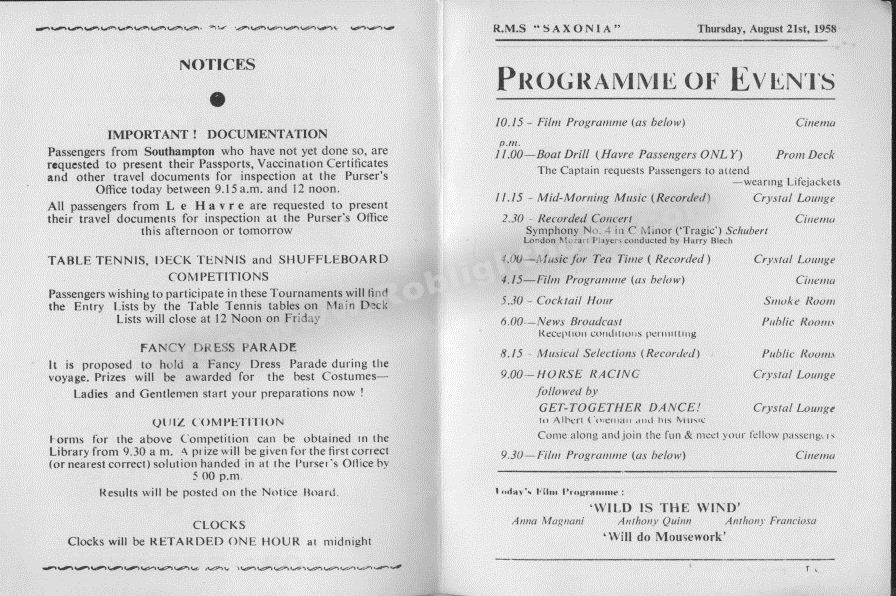 RMS Saxonia Programme of Events for August 21st 1958