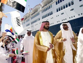 H.H. Shaikh Mohammad Bin Rashid Al Maktoum, Vice-President and Prime Minister of the UAE and Ruler of Dubai, visiting the Queen Elizabeth 2 during its first call at the Dubai Cruise Terminal in 2001.