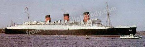 This is the Queen Mary during her peacetime duties - as the most luxurious liner afloat as opposed to a high-speed troopship!