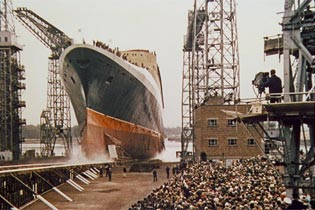 The QE2 is launched at Clydebank